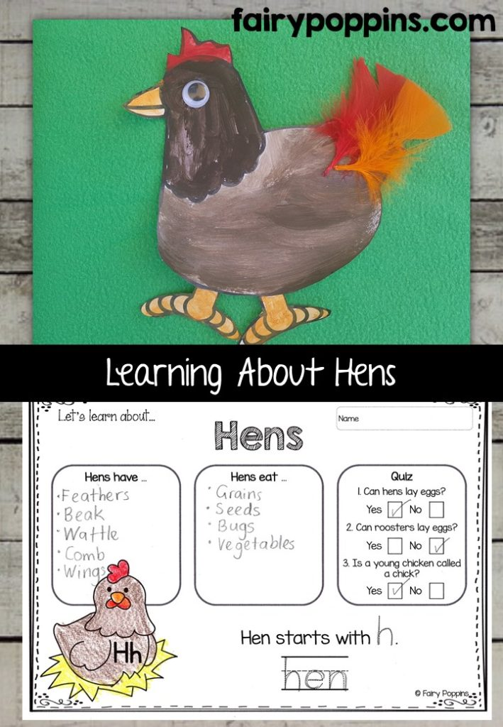 Hen craft template and worksheet activities (labeling, description, writing) - Fairy Poppins