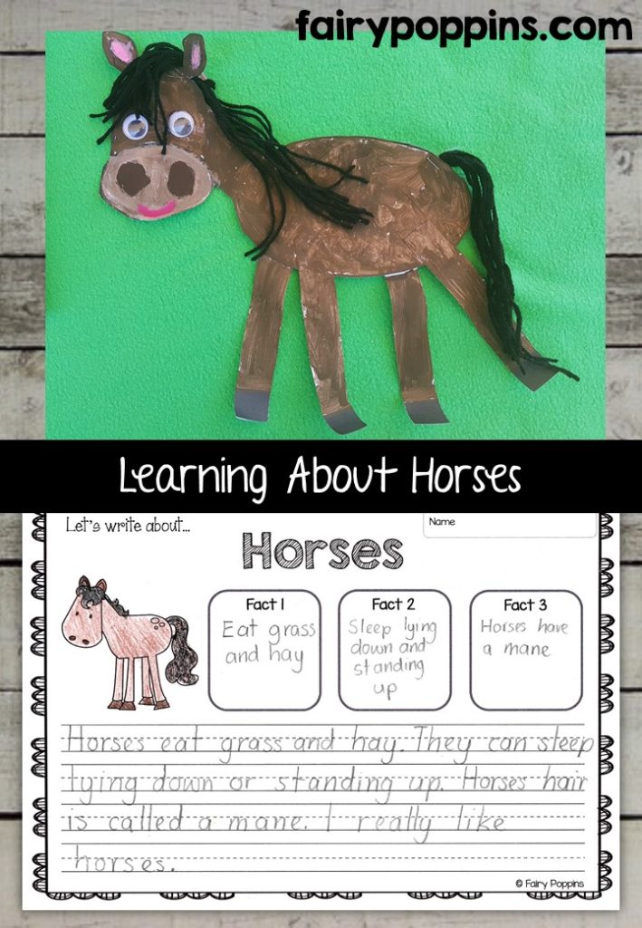 Horse craft template and worksheet activities (labeling, description, writing) - Fairy Poppins