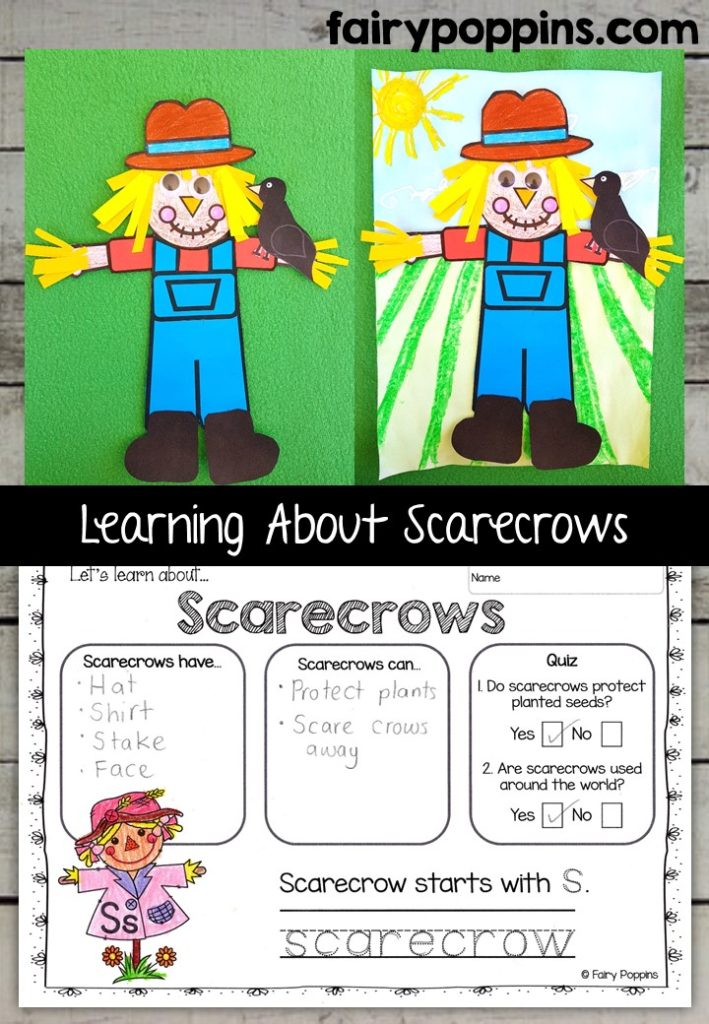 Scarecrow craft template and worksheet activities (labeling, description, writing) - Fairy Poppins