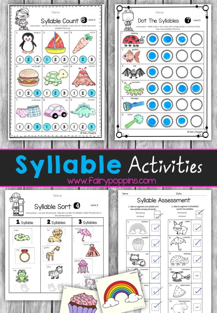 Syllable worksheet activities - Fairy Poppins