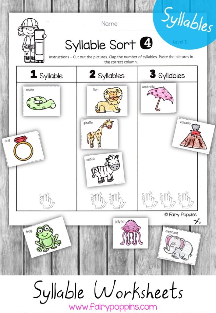 Syllable worksheet activities (differentiated) - Fairy Poppins