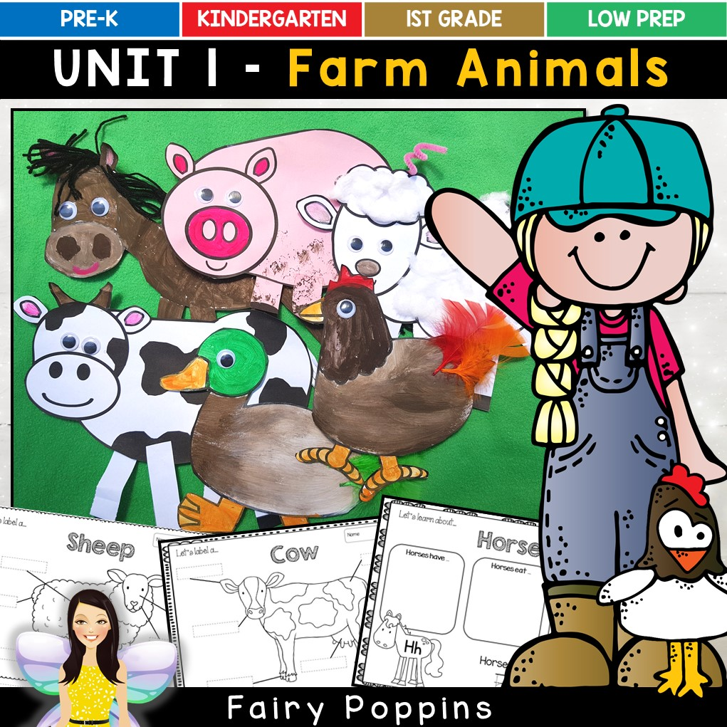 Farm animal craft templates and worksheets - Fairy Poppins