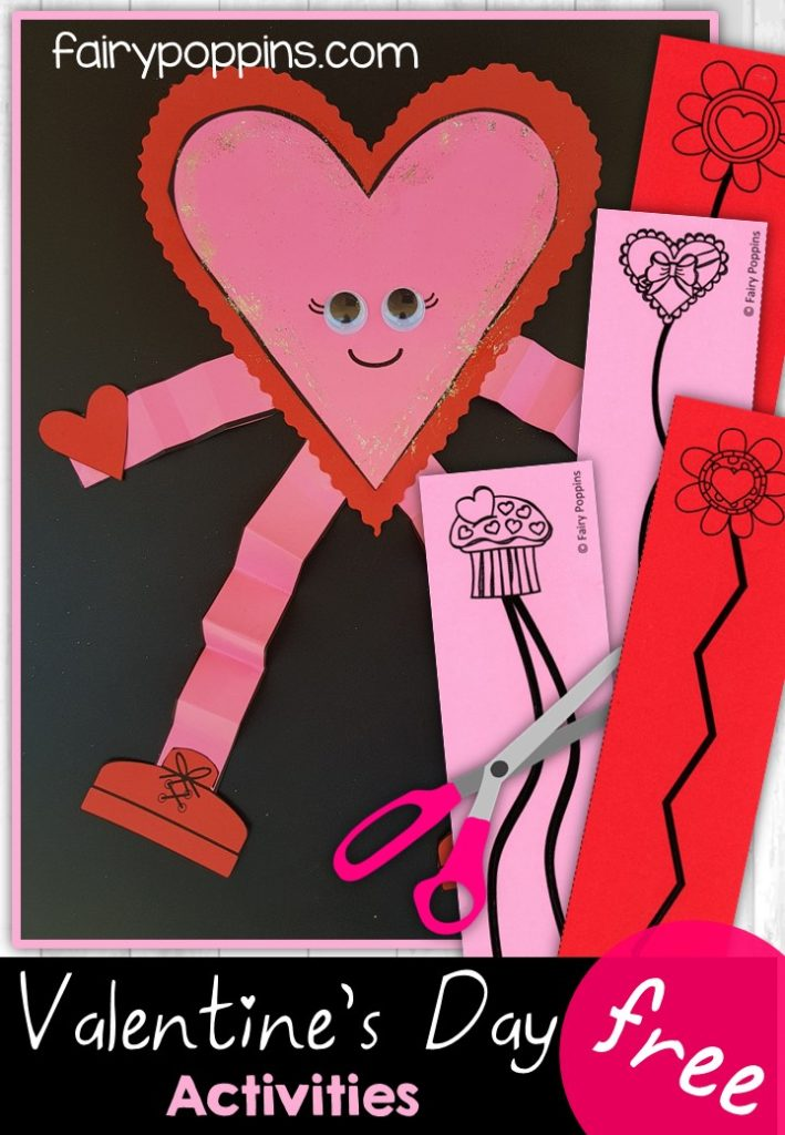 Valentine's Day heart craft and cutting practice worksheets (free) - Fairy Poppins