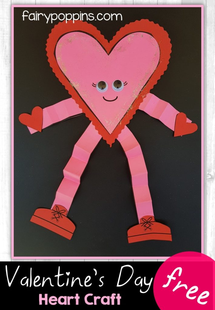 Valentine's Day heart craft template (free) - Fairy Poppins