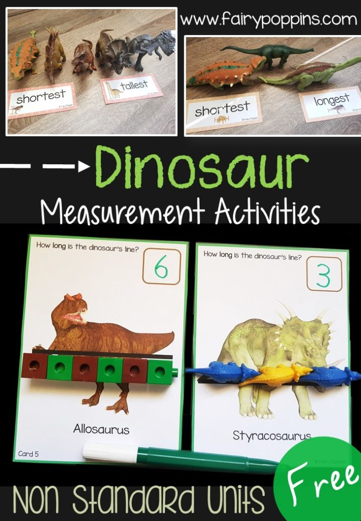 Free dinosaur measurement cards and labels. Non standard measurement activities.~Fairy Poppins