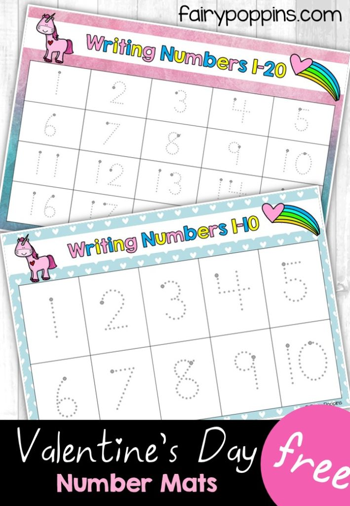 Cute write and wipe number mats featuring numbers up to 20. Perfect for kids who love unicorns or Valentine's Day. ~ Fairy Poppins