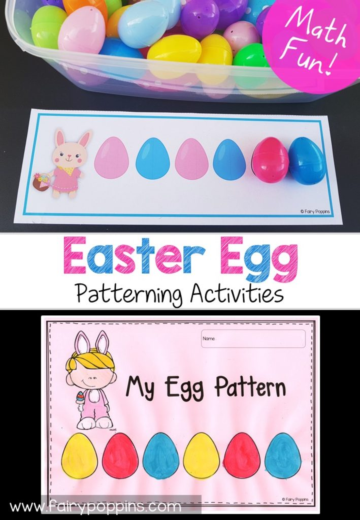 Patterning cards and worksheets to use with plastic Easter eggs. Great for math centers. ~ Fairy Poppins