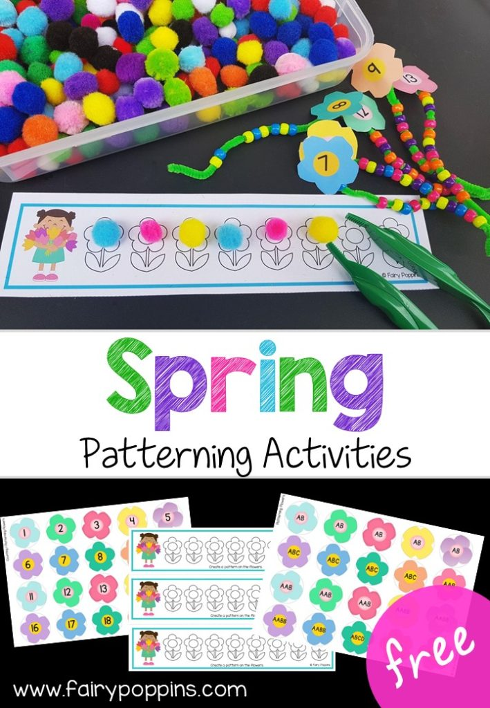 Free patterning mats and counting activities for spring and math centers. ~ Fairy Poppins