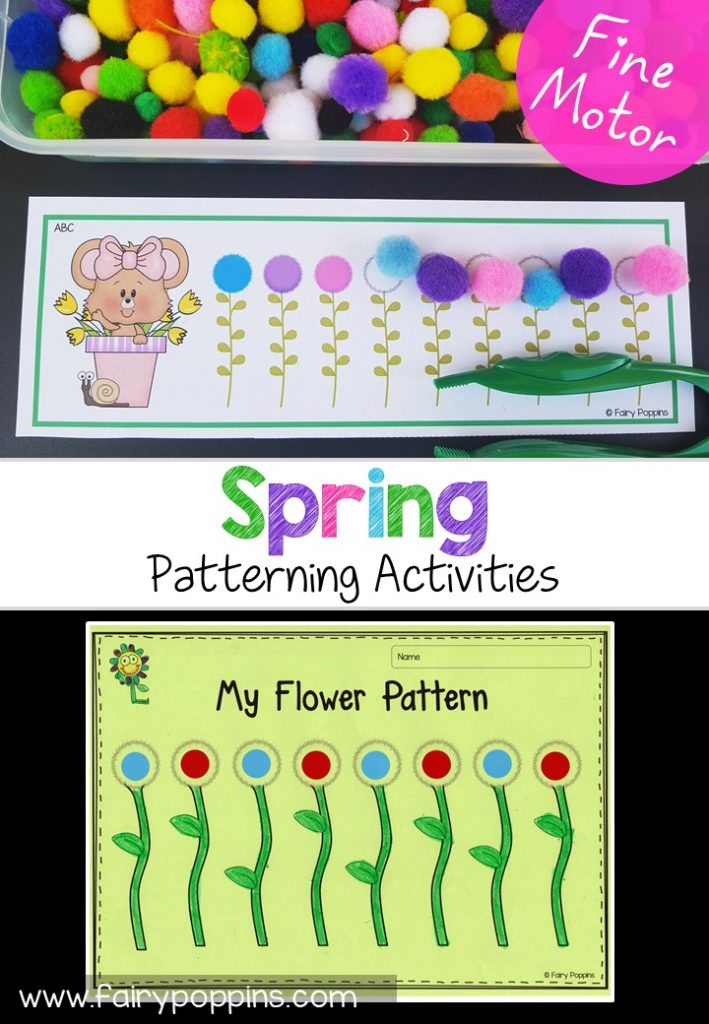 Spring patterning cards, activities and worksheets. Great for developing fine motor skills. Also suitable for math centers. ~ Fairy Poppins