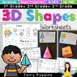 3D shapes worksheets and net templates for kids - Fairy Poppins