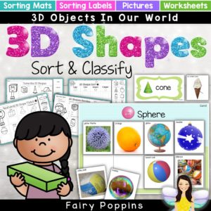 3D shape sort and classify activities with real world objects - Fairy Poppins