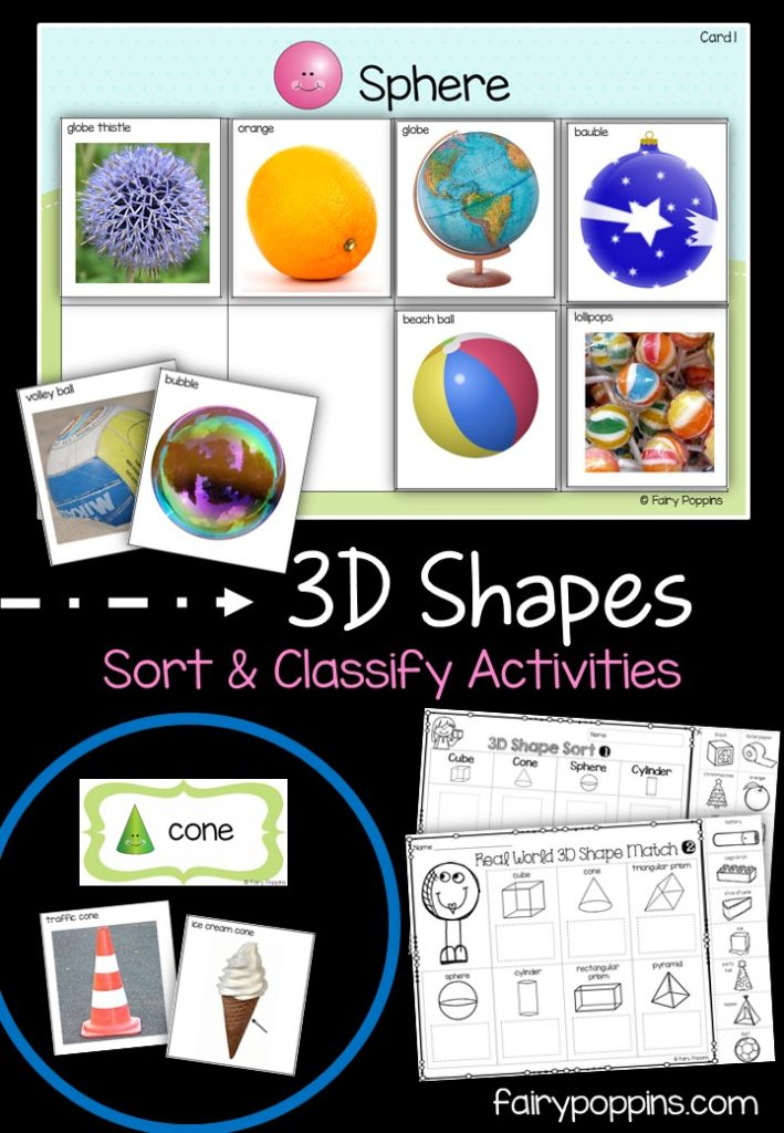 D Shapes Sort Classify Activities Fairy Poppins X on 3d shapes cut and paste worksheets