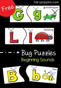 Free bug puzzles which focus on beginning sounds and learning bug vocabulary. Perfect activity for a bug unit. ~ Fairy Poppins