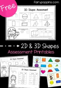 Free 2D shapes assessment and 3D shapes assessment - Fairy Poppins