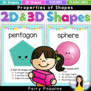2D and 3D properties of shapes posters- Fairy Poppins