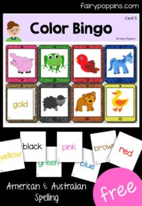 Free color bingo game in American and Australian spelling. Great for identifying colors. Inspired by the Brown Bear, Brown Bear book ~ Fairy Poppins