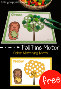 Free fall fine motor activities. These color/ colour matching mats help kids learn about fall/ autumn leaves. ~ Fairy Poppins
