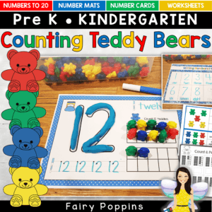 Counting bear number mats and activities, including worksheets - Fairy Poppins