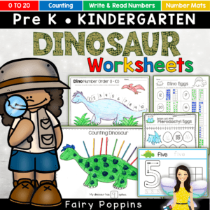 Dinosaur activities and number worksheets for preschool and kindergarten (0 to 20) - Fairy Poppins