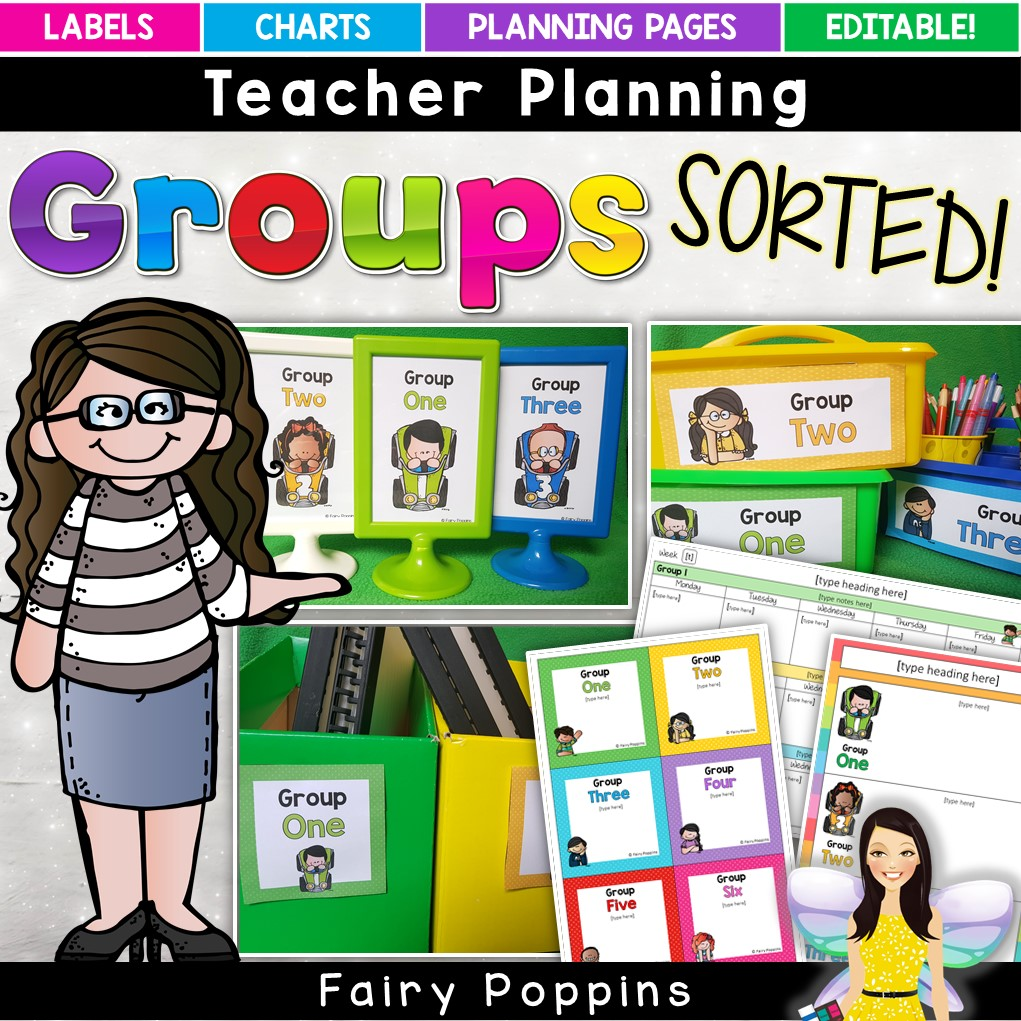 Teacher printables for grouping students - editable labels, planners and charts. ~ Fairy Poppins