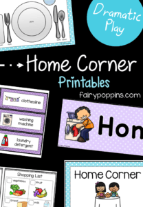 Home corner printables for dramatic play centers and pretend play - Fairy Poppins