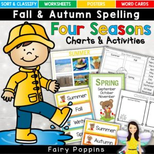 Four seasons sort and classify mats, posters, word cards, activities and worksheets - Fairy Poppins