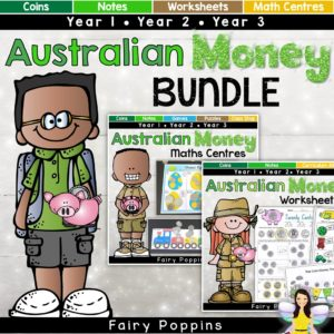 Australian money worksheets, math centres, games and activities. ~ Fairy Poppins
