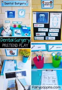 Dental Surgery dramatic play center for preschool, kindergarten or first grade. Learn about how to have healthy teeth through pretend play. Great for a dental unit or dental week. #dramaticplay #pretendplay #dentalactivities #fairypoppinsresources