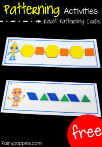 Free patterning mats to use with pattern blocks. Great for preschool and kindergarten math centers. #fairypoppins #fairypoppinsresources