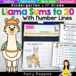 Llama addition and subtraction activities using number lines. Includes math centers and worksheets for numbers up to 20. ~Fairy Poppins