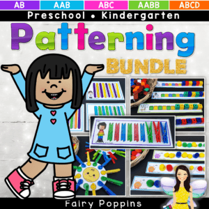 Fun patterning activities for kids in preschool and kindergarten. They use every day items such as pegs, popsicle sticks and pom poms. Great for developing color recognition and fine motor skills too. #fairypoppins #patterning #fairypoppinsresources