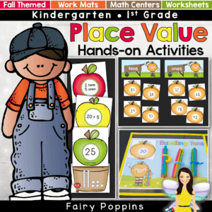 Fall place value centers and worksheets for kindergarten and first grade. Features apple and pumpkin themed activities. ~ Fairy Poppins