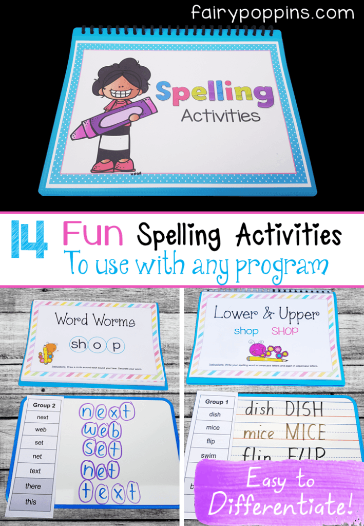 These 14 fun spelling activities can be used with any spelling program. There are printable charts that explain each activity and worksheets too. They make differentiating easy as they can be used with any words. Great for kids in kindergarten and elementary grades. #spellingcenters #spellingactivities #literacycenters #wordwork