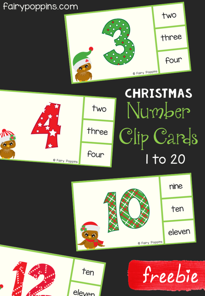 Free Christmas number clip cards. There are counting clip cards and reading numbers clip cards for the numbers 1 to 20. These are great for developing fine motor skills and are a fun addition to Christmas math centers. Perfect for kids in preschool and kindergarten. #Christmasactivities #preschoolmath #kindergartenmath #freeprintables #fairypoppins #fairypoppinsresources