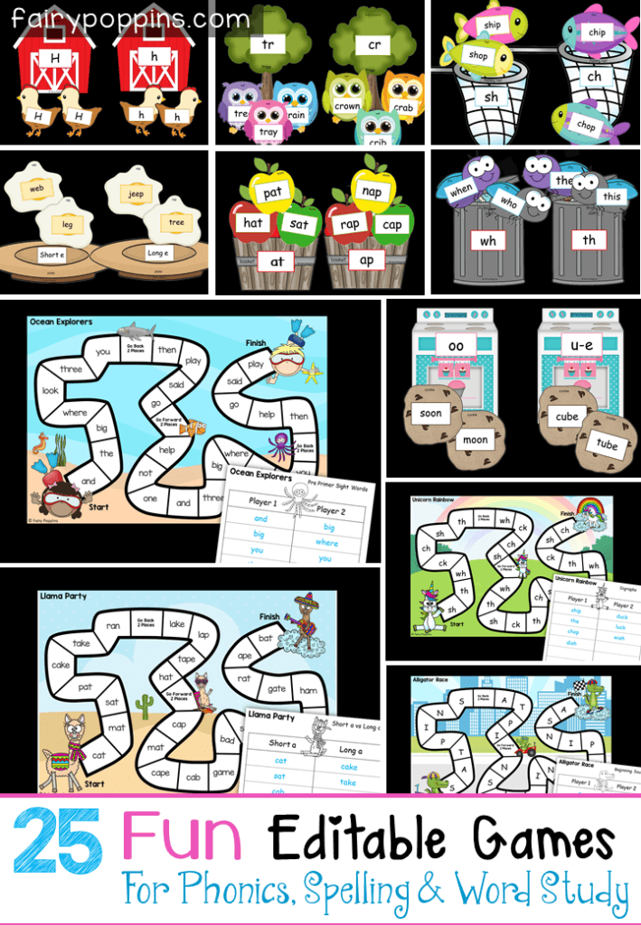 These 25 editable games are great for sight words, phonics, spelling, word study and even math! The printables include a variety of board games and sorting game templates. They are great for differentiation in kindergarten, first grade, second grade and third grade. #editablegames #sightwordgames #spellinggames #phonicsgames #wordstudygames #wordwork #alphabetgames