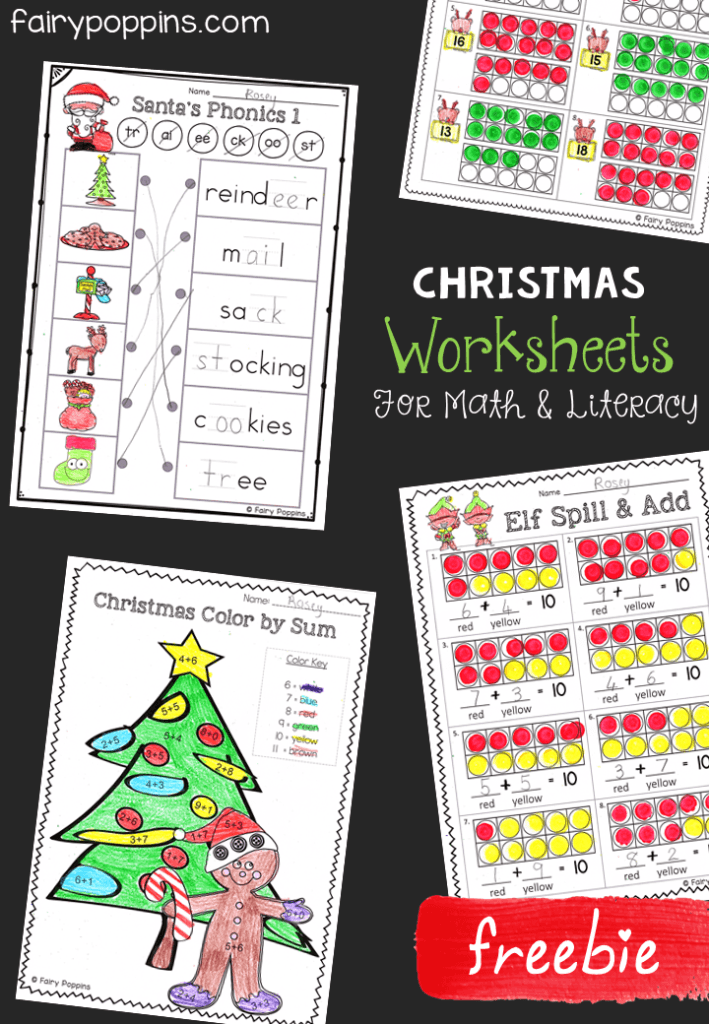 Free Christmas Worksheets Fairy Poppins