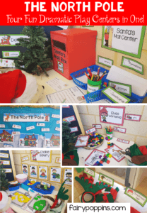 This fun North Pole dramatic center is fun for kids in preschool, kindergarten and 1st grade! There is a mail center, Elve's/ Santa;'s Workshop, Cookie Bakery and a North Pole Center. There are even bonus Polar Express signs and train tickets! The kids can write at the mail center, construct toys in the workshop or make playdough cookies in the cookie bakery! #santasworkshop #Christmasactivities #dramaticplay #pretendplay #literacycenters #fairypoppins #fairypoppinsresources