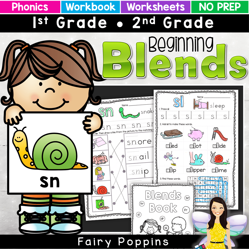 These blends worksheets can be used on their own or made into a workbook. They are great for independent work and phonics revision. There is a mini workbook too. Great for first grade. #phonicsactivities #blendsworksheets #blendsactivities #fairypoppins #fairypoppinsresources
