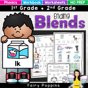 These final / ending blends worksheets can be used on their own or made into a workbook. They are great for independent work and phonics revision. There is a mini workbook too. Great for first grade and second grade #phonicsactivities #endblendsworksheets #endblendsactivities #fairypoppins #fairypoppinsresources