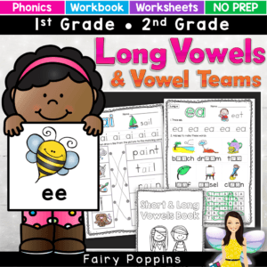 These activities focus on vowel teams and long vowels (bossy e, magic e). The worksheets can be used on their own or made into a workbook. They are great for independent work and phonics revision. There is a mini workbook too. Great for first grade and second grade #phonicsactivities #longvowels#vowelteamworksheets #vowelteamactivities #fairypoppins #fairypoppinsresources