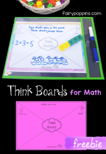 These free think board templates are great for kids in kindergarten, 1st grade and 2nd grade. They help with teaching addition, subtraction, multiplication and division. There are a few different designs including a blackline version which can be printed on colored paper. #thinkboards #freemathprintables #elementarymath #wordproblems #mathcenters #fairypoppins #fairypoppinsresources