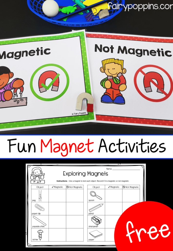 Free magnet activities for kids. Includes sorting mats and worksheets that help kids investigate materials that are magnetic or not magnetic. Great for science centers, kindergarten and first grade. #fairypoppins #fairypoppinsresources #magnetactivities #sciencecenters #kindergartenscience #firstgradescience