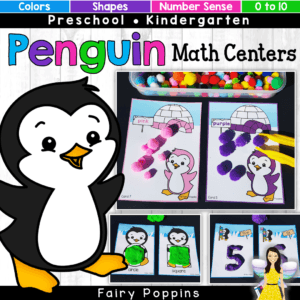 Penguin math centers for kids in preschool and kindergarten. Includes color/ colour matching activities, shape playdough mats, number mats and number sense puzzles. Great for developing fine motor skills too. #preschoolmath #kindergartenmath #penguinmathactivities #penguinactivities #coloractivities #shapeactivities #numberactivities