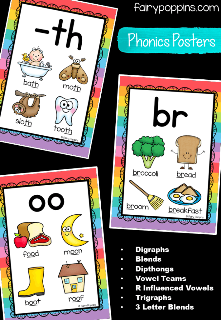 This comprehensive set of over 150 phonics posters includes 3 designs to choose from. The posters cover a range of things such as digraphs, blends, dipthongs, vowel teams, r influenced vowels, trigraphs, and three letter blends. #phonicscharts #phonicsposters #digraphs #dipthongs #blends #endingblends #rinfluencedvowels #bossyr #trigraphs #3letterblends