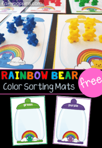 These free rainbow bear sorting mats are great for kids in preschool or kindergarten. Kids can use their fine motor skills to sort rainbow counting bears onto the mats. This activity helps kids learn to identify colors (colours). #preschoolcenters #kindergartencenters #coloractivities #colouractivities #finemotorskills #sortingactivities #bearactivities #countingbearactivities