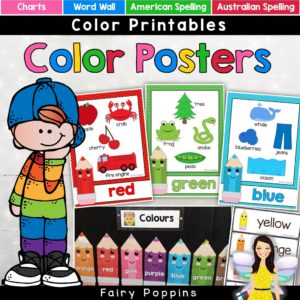 Color posters in American and Australian spelling Includes  color word pencils and color charts. #learncolors #colourposters