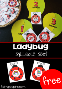 This free ladybug syllable activity helps develop kids phonological awareness. It focuses on sorting words with one to three syllables. Kids clap the number of syllables on the ladybug card and then place it on the matching syllable leaf. #ladybugactivities #syllableactivities #syllablegames #phonologicalawareness #ladybirdactivities #preschoollcenters #kindergartencenters