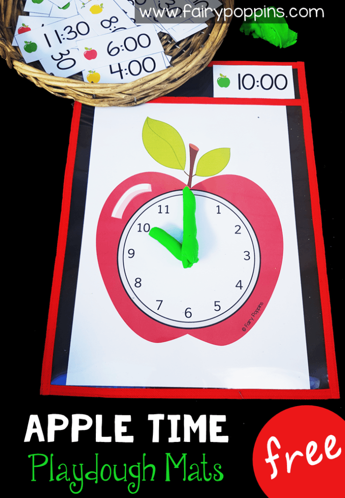 Free time activities featuring a cute apple theme. Perfect for kindergarten, first grade or second grade math centers. Kids can make the time using playdough or erasable markers. The focus is on telling time to o'clock, half past, quarter past and quarter too. There are also some blank time cards for you to write other times. #timeactivities #kindergartenmath #firstgrademath #secondgrademath #appleactivities #mathcenters #measurementactivities