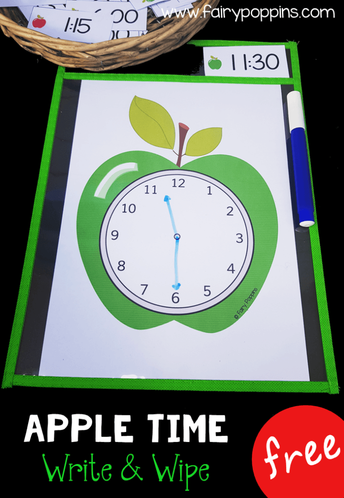 Free time activities featuring a cute apple theme. Perfect for kindergarten, first grade or second grade math centers. Kids can make the time using playdough or erasable markers. The focus is on telling time to o'clock, half past, quarter past and quarter too. There are also some blank time cards for you to write other times. #timeactivities #kindergartenmath #firstgrademath #secondgrademath #mathcenters #measurementactivities #appleactivities