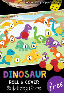 Free dinosaur math game for kids in preschool or kindergarten. This game helps kids learn to subitize numbers on a six sided dice. It also helps kids to identify the numbers. A perfect addition to math centers or math groups. #preschoolmath #kindergartenmath #dinosauractivities #dinosaurtheme #mathgames